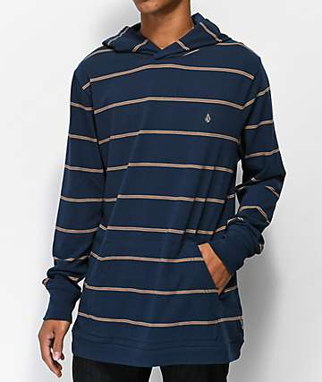 Volcom Joben Navy Hooded Long Sleeve T-Shirt