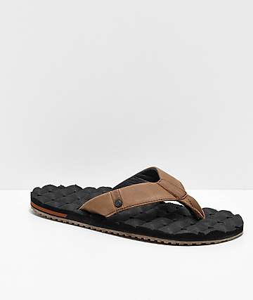 Volcom Leather Recliner Black & Brown Sandals