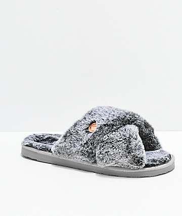 Volcom Lil Slip sandalias de peluche gris
