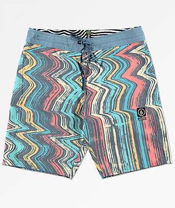 Volcom Lofi Stoney shorts de baño en azul y rojo
