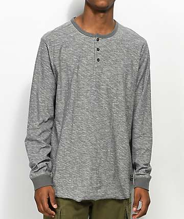 Volcom Moxee Light Grey Long Sleeve Henley T-Shirt