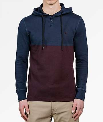 Volcom Murphy Navy & Burgundy Thermal Hooded Shirt
