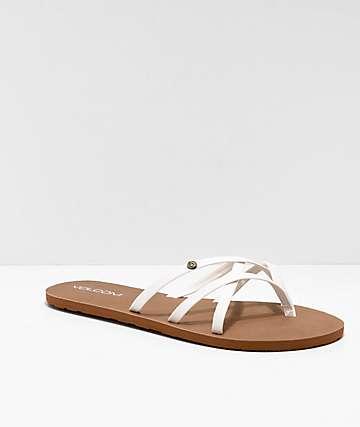 eabb9dfd5 Volcom New School White Strappy Sandals