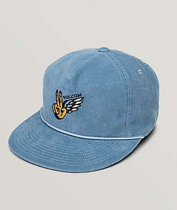 Volcom Peace Wing Blue Corduroy Strapback Hat