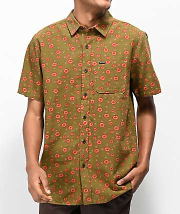 Volcom Psych Dot Army Green Short Sleeve Button Up Shirt