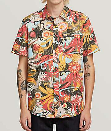 Volcom Psych Floral Army Short Sleeve Button Up Shirt