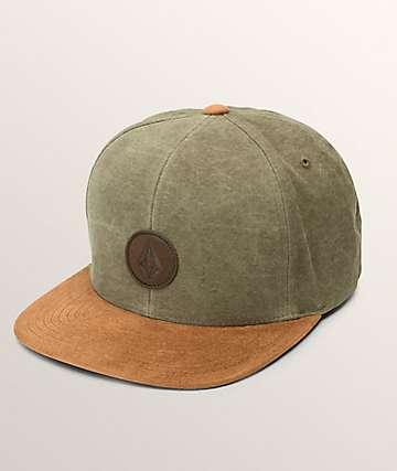 Volcom Quarter Fabric Army Green Combo Snapback Hat