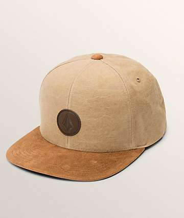 Volcom Quarter Fabric Old Gold Snapback Hat