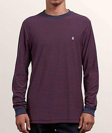 Volcom Randall Midnight Blue Striped T-Shirt