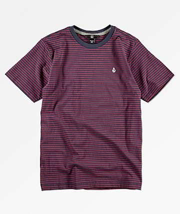Volcom Randall camiseta azul y borgoña para niños
