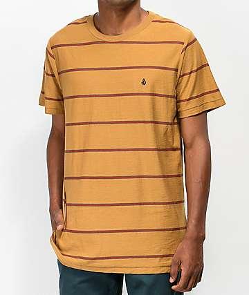 Volcom Randall camiseta dorada y roja de rayas