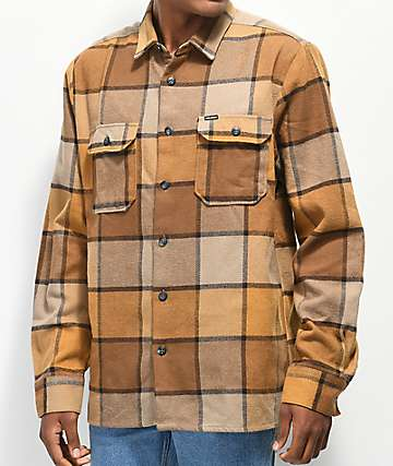 Volcom Randower Khaki & Gold Flannel Shirt