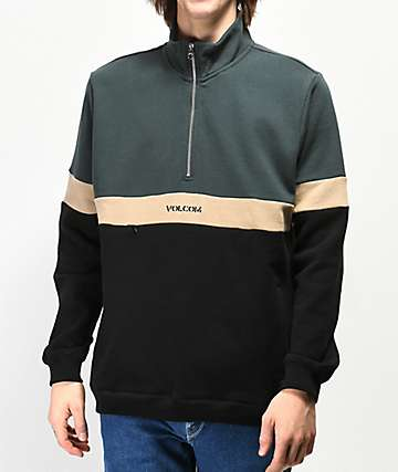 Volcom Ranier Green Polo Quarter Zip Sweatshirt