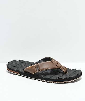 Volcom Recliner Leather Brown & Black Sandals
