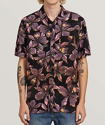 Volcom Resorto Vallarta Pink Short Sleeve Button Up Shirt