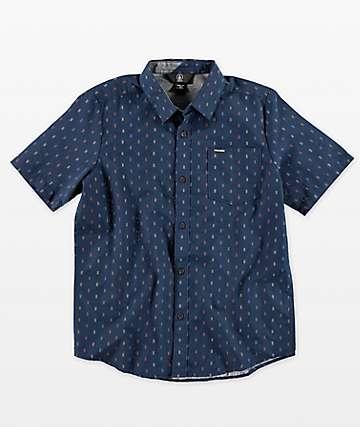 Volcom Rollins camisa azul de manga corta para niños