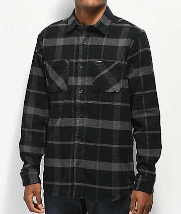Volcom Shader camisa de franela negra y gris