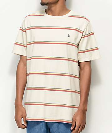 Volcom Sheldon Cream Striped Knit T-Shirt
