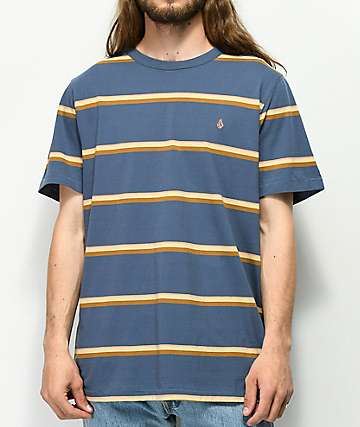 Volcom Sheldon Navy Striped Knit T-Shirt