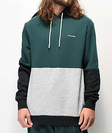 Volcom Single Stone Division Green, Grey & Charcoal Hoodie