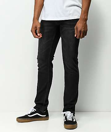 Volcom Solver Tapered Washed Black Jeans