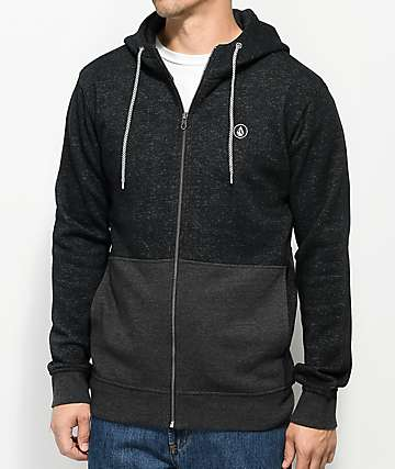 Volcom Static Stone Heather Black Zip Up Hoodie