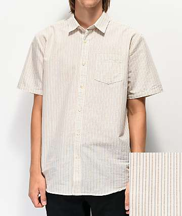 Volcom Stone Stamp White Woven Short Sleeve Button Up Shirt