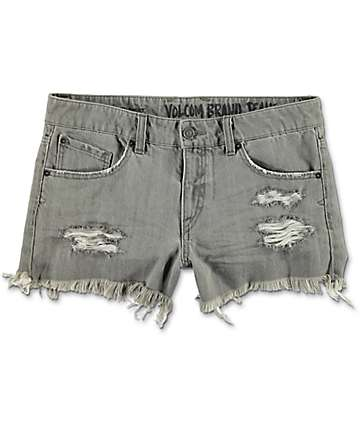 Volcom Stoned Grey Vintage Denim Shorts