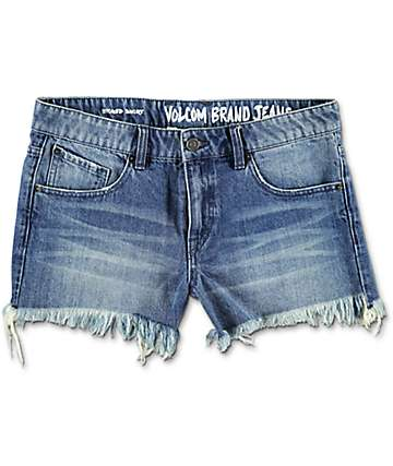 Volcom Stoned Retro Blue Denim Shorts