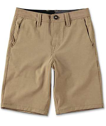 Volcom Surf N' Turf Static Dark Khaki Boys Hybrid Shorts