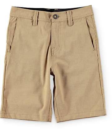 Volcom Surf N' Turf shorts híbrido color caqui estática (niño)