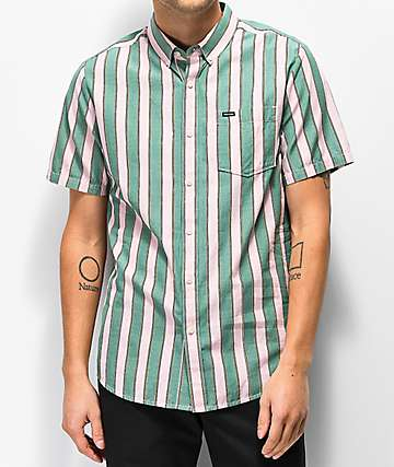 Volcom The Bold Stripe Woven Short Sleeve Button Up Shirt