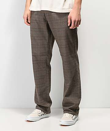 Volcom Thrifter Plus Brown Houndstooth Plaid Pants