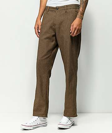 Volcom Thrifter Plus Dark Khaki & Black Houndstooth Pants