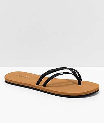 a07d098a47 Volcom Thrills Black & Khaki Thong Sandals