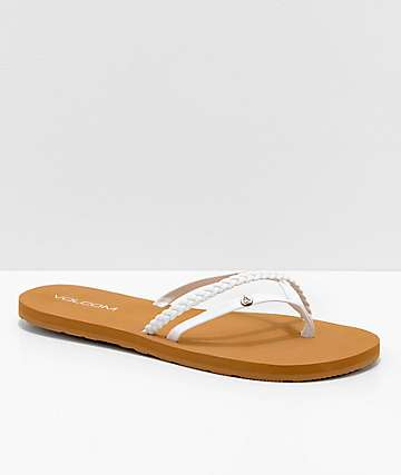 4f07003fa5c0 Volcom Thrills White   Khaki Thong Sandals