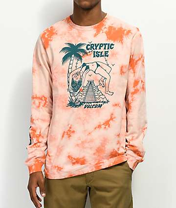 Volcom Tomb Orange Tie Dye Long Sleeve T-Shirt