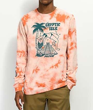 Volcom Tomb camiseta de manga larga naranja con efecto tie dye