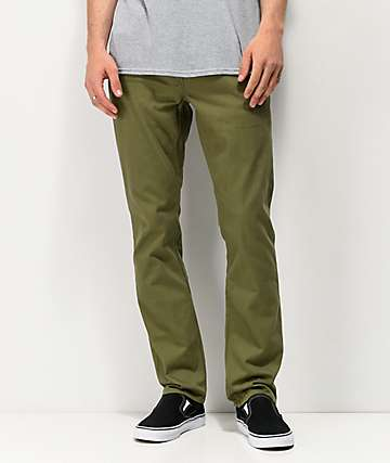 Volcom Vorta 5 Pocket Olive Green Slub Denim Jeans