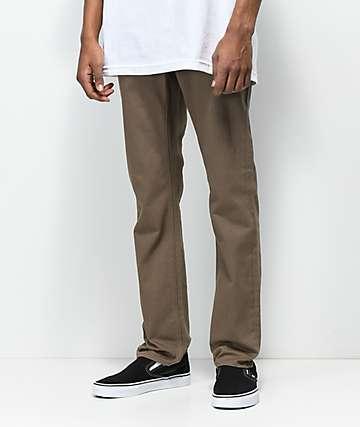 Volcom Vorta 5 Pocket Slub Mud Brown Slim Fit Jeans