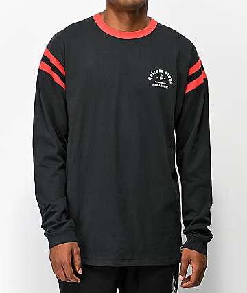 Volcom Wagners Black & Red Long Sleeve T-Shirt