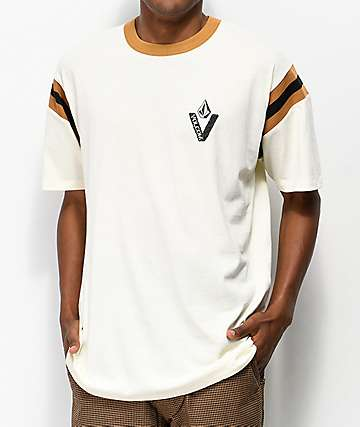 Volcom Wagners Off-White & Brown T-Shirt