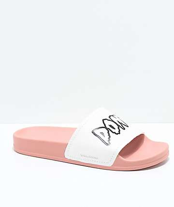 Volcom Womens Don't Trip Mellow Rose & White Slide Sandals
