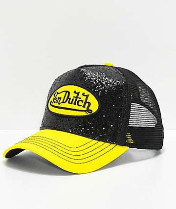 Von Dutch Black & Yellow Glitter Trucker Hat