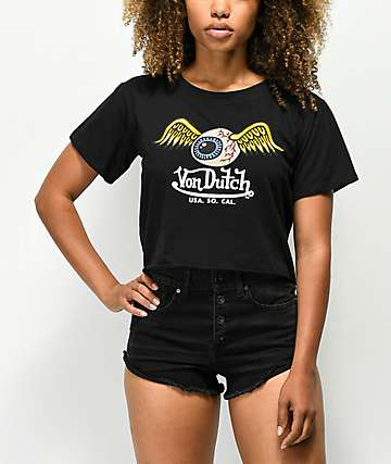 Von Dutch Eye Wings Black Crop T-Shirt