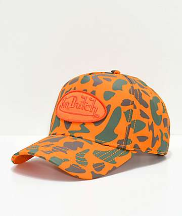Von Dutch Orange Camo Snapback Hat