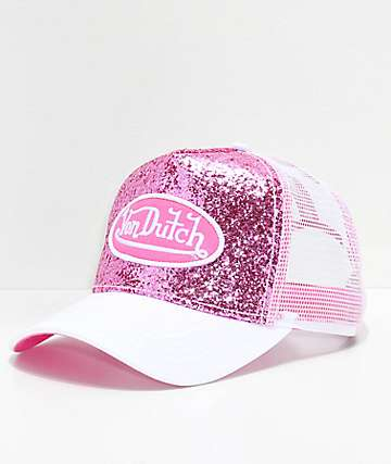 Von Dutch Pink & White Glitter Trucker Hat