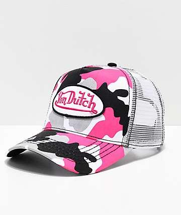 Von Dutch gorra de camionero de camuflaje rosa