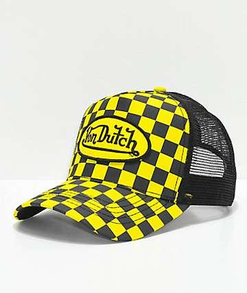 Von Dutch gorra trucker a cuadros en negro y amarillo