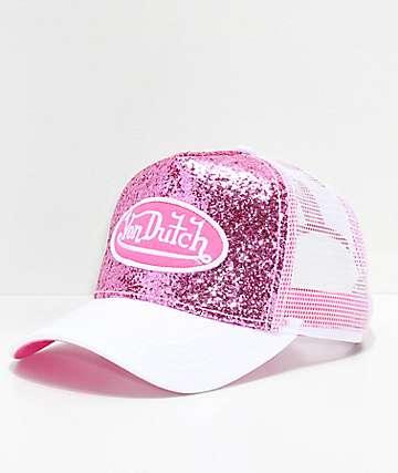 Von Dutch gorra trucker con brillos en rosa y blanco